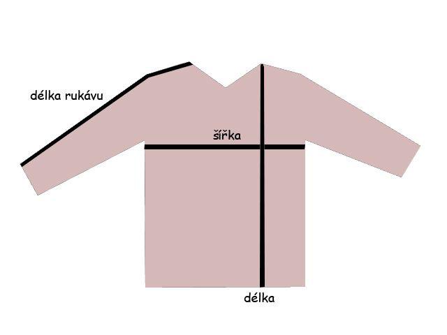 měření délky a šířky kabátku od pyžama, mikyny